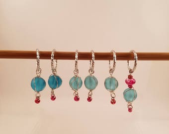 Glass Bead Stitch Markers - turquoise and pink