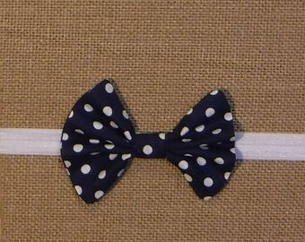 Navy and White Polka Dot Bow