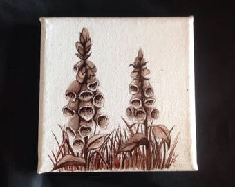 Foxgloves. Mini acrylic painting on canvas //Handpainted//Botanical art//wild flowers