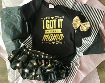 """This is the """"I Got it from My Mama"""" snazzy 3 piece set perfect for those 1st pictures!"""