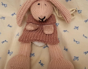 Hand knitted bunny bag