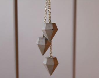 Three-part Collier with concrete diamond pendants silver piece pendant chain