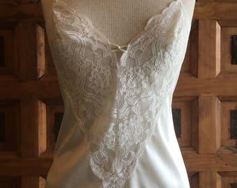 White lace inset nylon camisole women's