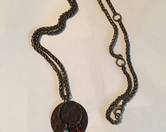 Boho Copper and Turquoise Pendant Necklace