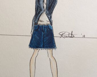Fashion illustration Navy Sweater Women in Glasses