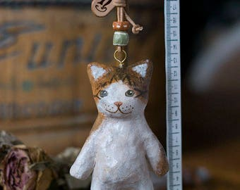 paper mache, cat, keychain, leather, animal, keyring
