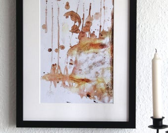 COFFEE ACCIDENT - abstract, art print, watercolour, watercolor