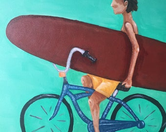 Transportation Original acrylic surf art on hardboard