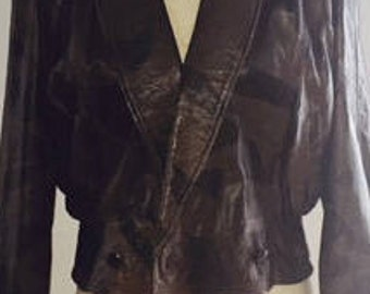 Womens Vintage Leather Jacket 80s 90s (cropped waist)