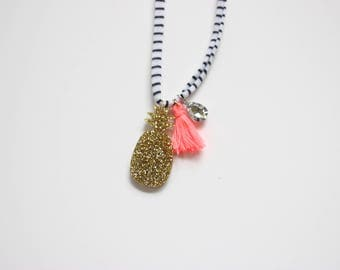 Gold Glitter Pineapple Necklace