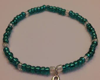 Teal awareness/support bracelet for Anxiety, Agoraphobia, PTSD, PCOS, Ovarian Cancer...