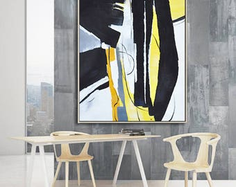 Large Contemporary painting on canvas, vertical contempoaray art, black, white, yellow, orange, gray. FREE shipping. Ethan Hill Art No.H33V