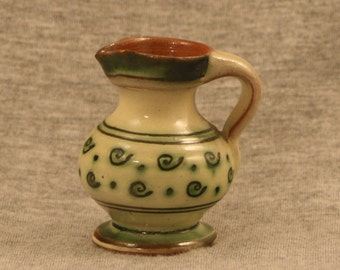 Tiny 1960's Pottery Pitcher with Green Accents