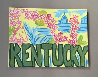 Kentucky Lilly Pulitzer Inspired Canvas