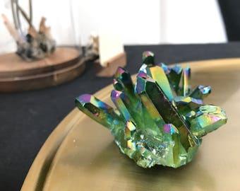 Green Titanium Rainbow Quartz Cluster