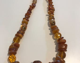Amber color necklace