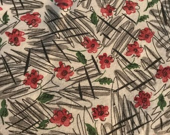 Vintage Feed Sack Fabric with pink flowers and gray.  This would be good for quilting or sewing.
