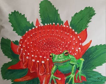 Hand-Painted Cushion - Red Eyed Green Tree Frog on Waratah Flower