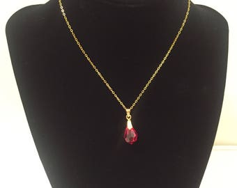 14k gold plated crystal choker necklace, ruby necklace, Gem stone necklace, red crystal necklace