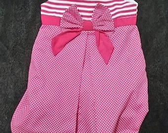 Handmade girls dress, pink with white polkadots, girls dress, party dress
