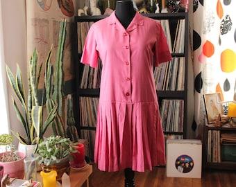 1960s 70s vintage drop waist dress with pleated skirt . womens large xl . pink shirt dress, knee length