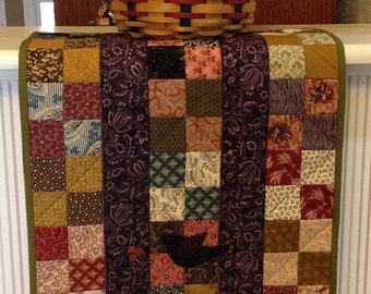 Civil War style doll quilt, sweet wool blackbird adds a little whimsy