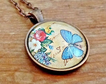 Butterfly Pendant, Butterfly Necklace, Butterfly Jewelry, Floral Pendant, Floral Necklace, Glass Cabochon, Glass Dome Pendant, Gift for Her