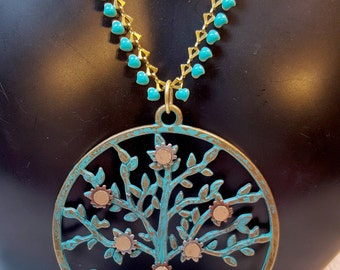 Steampunk Tree of Life With Embellished Drop Chain, Tree of Knowledge, Teal Tree of Life, Tree Jewelry, Family Tree, Gear Jewelry
