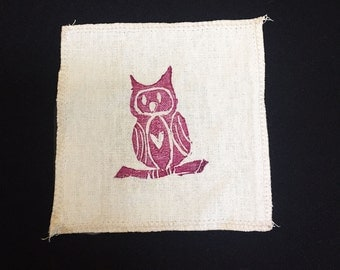 Organic Cotton and Hemp Patch with Owl print - Handmade and printed