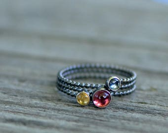 spring ring - size US 6  - tourmaline, citrine, and iolite & sterling silver
