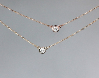 Diamond Solitaire Necklace, Real Diamond Pendant, 14k Yellow Gold or Rose Gold, Delicate Diamond Necklace, Modern Style, Layering Jewelry