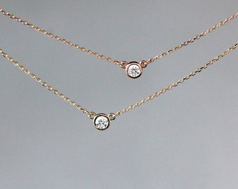 Diamond Solitaire Necklace, Diamond Pendant, 14k Yellow Gold or Rose Gold, Delicate Diamond Necklace, Everyday Necklace, Layering Jewelry