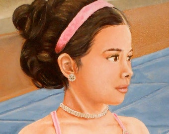 Custom Portrait Painting, Child Ballerina or in any sport or activity, Children's Portrait Artist, Christmas Gift Idea, Portrait from Photo