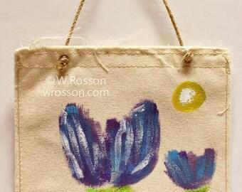 Blue Tulips, Yellow Sun, Painting, Wall Hanging, Original Art, Home Decor, Office Art, Cubicle, RV, Trailer, Dorm, Art, Winjimir, Gift,
