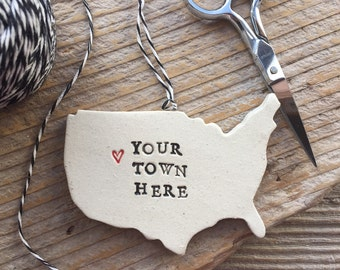 Your Town Pottery Ornament - Custom Made