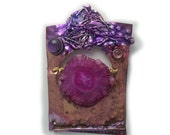 Pin Raspberry  Stalactite Slice and dichroic in Sterling Silver and Married Metals  by Cathleen McLain