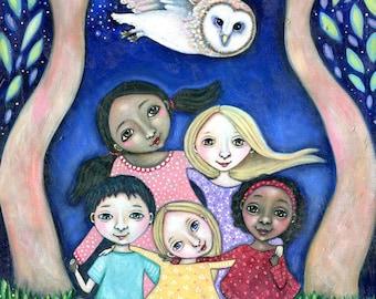 Owl totem wall art Wisdom Circle Wall Art Print Owl Art Painting Children's room Art spiritual art Five Children and Owl gift for friend