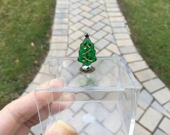Tiny GREEN Glass Christmas Tree Nic Nac by IGMA Diane Paone Dollhouse Miniatures