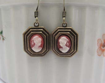 Art Deco Cameo Earrings Dainty Dangle Drop, Victorian Design, Antiqued Brass Wedding Bridal, Gift for Mom Sister, Clip On Earrings