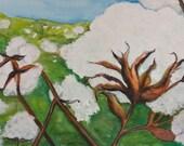 Cotton watercolor painting original Cotton Bolls Painting 11 x 14 Botanical Art, large watercolor cotton bolls, field  Farmhouse Decor