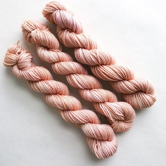 lobster bisque / hand dyed yarn / mini skein / sock fingering yarn / merino wool superwash / embroidery / neutral pale pink beige yarn