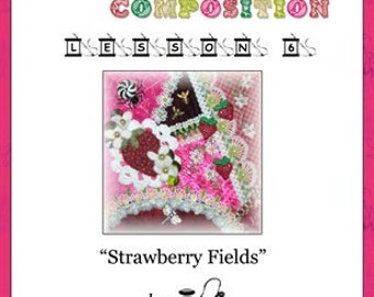 Crazy Quilt Block Pattern Strawberry Fields by Pamela Kellogg
