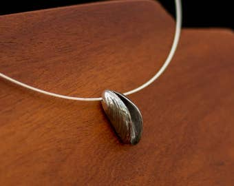 Mussel shells necklace - two sterling silver mussel shells strung on a silver cable necklace, for those that miss the sea