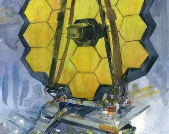 James Webb Space Telescope watercolor art print in multiple sizes, NASA Goddard plein air painting