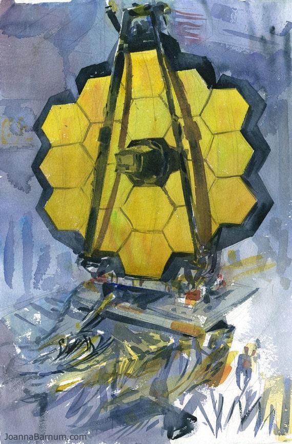 James Webb Space Telescope watercolor art print in multiple sizes, NASA Goddard plein air painting