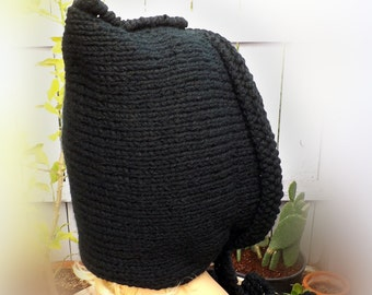 Black Chunky Knit Hood, Knit Hoodie, Hooded Knit, Womens Chunky Snood, Chunky Snood Womens, Desert Chunky Womens Snood, Gift for Women