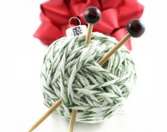Yarn Ball Ornament, Christmas Tree, Gift Idea for Knitters, Miniature Knitting Needles, Holiday Decor, Christmas In July, Knitting Gift