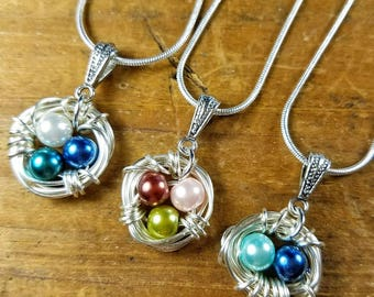 Mother's Day Birthstone Bird Nest Custom Personalized Wire Wrapped Pendant Necklace Silver Mom Jewelry Push Present Push Gift Baby Shower