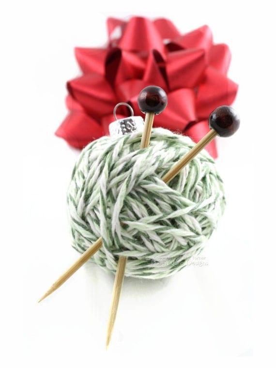 Christmas tree ornaments yarn : Yarn ball ornament christmas tree gift idea for knitters
