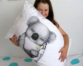 Giant Koala pillowcase, facing right. Australian animal cotton sham, white printed pillowslip. Australian gift with original art by flossy-p